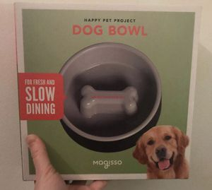 New Slow Feeding Dog Bowl by Magisso - Black and White