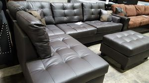 Brand New Espresso Color Faux Leather Sectional Sofa Couch + Ottoman