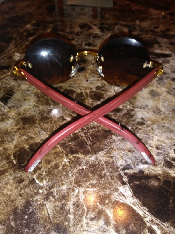 Vintage Wood Collection, Brown Round Rimless Glasses Gold Frame ...