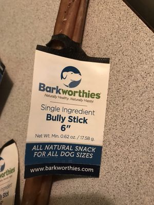 "8 Barkworthies 6"" Bully stick- $5 each"