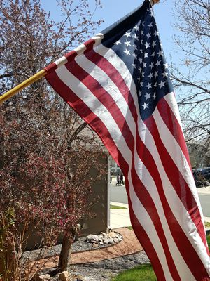 American Flag With Wooden Pole - In Great Condition