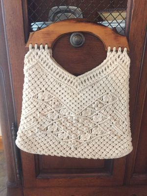 Vintage Woven Purse with Wooden Handles