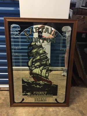 Large Bar Mirror/Glass Captain Norton Rum