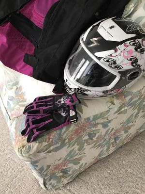 Women's motorcycle jacket (XL), helmet (M) and gloves