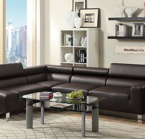 Dark Leather Sectional set... only $999.99 or as low as $35.77 per week... please visit (iNeedBed. info) for more details
