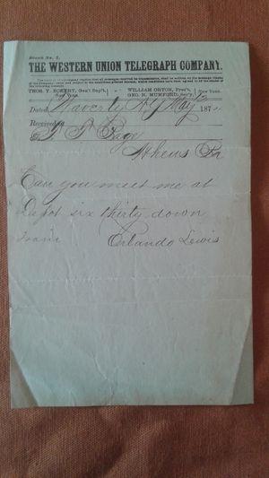 1898 Western Union Telegram