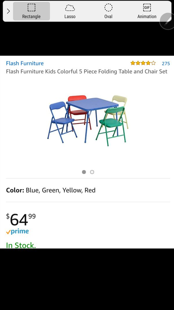 NEW Flash Furniture Kids Colorful 5 Piece Folding Table and Chair ...