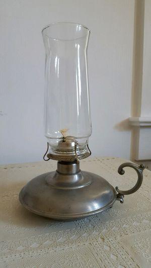 """10"""" Pewter Hurricane Lamp"""