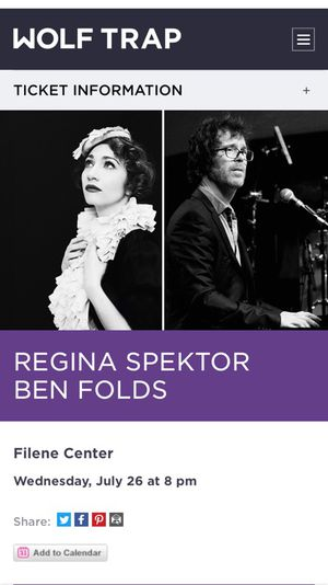 Tickets for sale. Ben Folds & Regina Spektor
