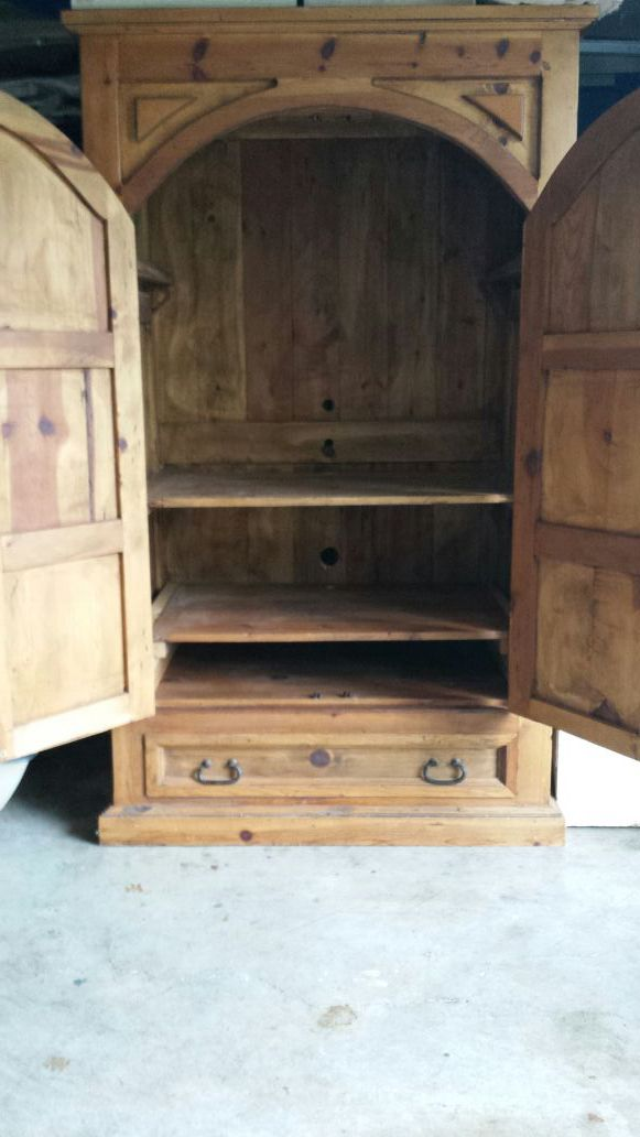 Solid knotty pine armoire furniture in edmonds wa offerup for Furniture edmonds wa