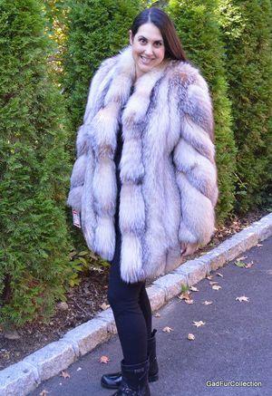 Crystal fox fur coat jacket stroller size 16