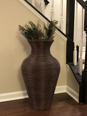 "28"" Tall Decorative Wooden Floor Vase"