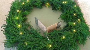 New in box prelit pine wreath