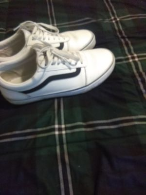 Exclusive white leather vans size 9.5