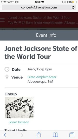 Janet Jackson 4 tickets together ($95 each) NO FEES