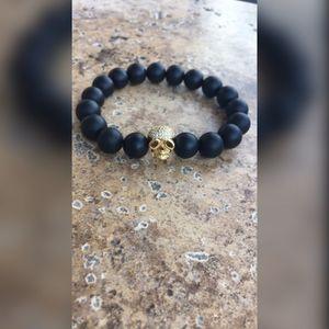 Men's women's black onyx gold pave skull beaded bracelet