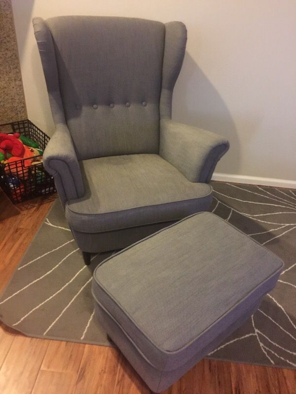 Ikea Strandmon Wing Chair With Ottoman Furniture In