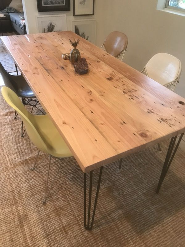 Reclaimed Wood Dining Room Table Black Hairpin Legs Furniture In - Reclaimed wood coffee table los angeles
