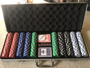 Full unused professional poker set, with portable table top and carrying bag.