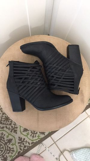 Black Strappy Ankle Boots - Size 8