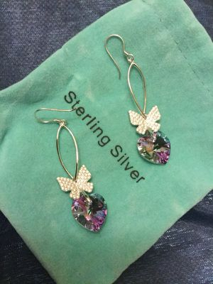 Sterling Silver CZ Butterfly 🦋 Amethyst Chrystal Hearst earrings / New & Beautiful Swarovski crystals