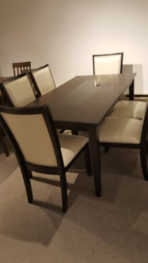 Dark Cherry 7pc Dining Table W Upholstered Cream Chairs