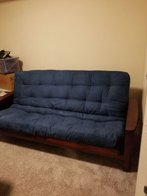 Solid wood frame futon with full size spring mattress
