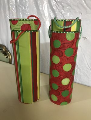 Set of 2 Christmas Wine Gift Boxes / Decor