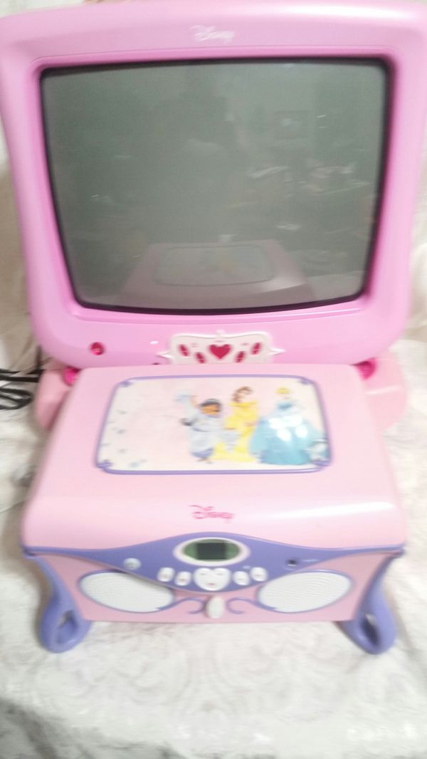 DISNEY PRINCESS TV DVD PLAYER AND CD PLAYER JEWELRY BOX SET Baby