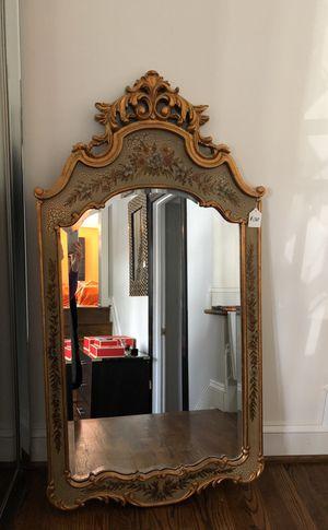 Gilded mirror, 2 tables, shelves