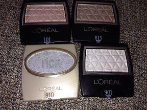 Set#5ye Shadows L'Oréal the colors*910 PURE SILVER ,ARGENT PUR* 815 SEASHELL,COQUILLAGE * 405 TAFFETA,TAFFETAS * 501 VIOLET PETAL,PETALE DE VIOLETTE