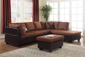 Brand new brown microfiber sectional with ottoman