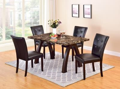 Marblette Dining Room Table And Four Upholstered Tufted Chairs On Sale 499 Price Is Firm
