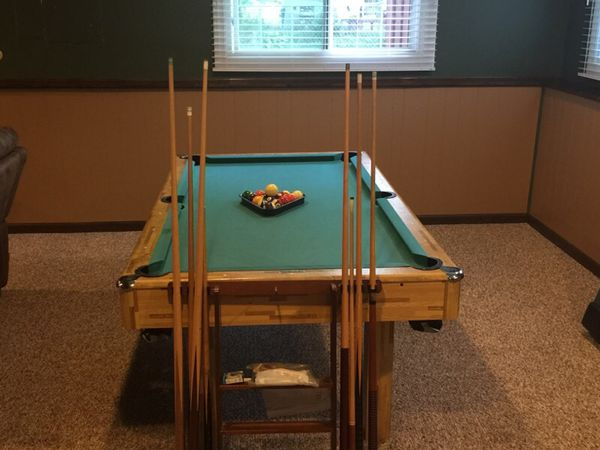 Pool table es with cues chalk billiard balls triangle