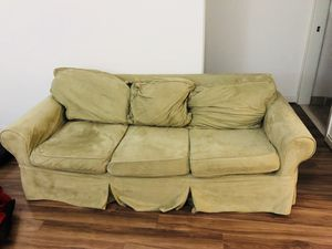 Free couch, washable covers. Good overall condition but some cosmetic defects. Very comfortable. I cannot deliver. Thanks.