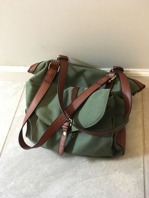 Green fabric and leather purse