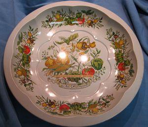 Vintage Woolworth's Department Store Toleware Type Metal Bowl with Vegetable Pattern
