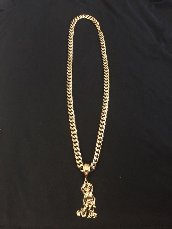 18K 32 11mm BRAZILIAN GOLD FILLED CUBAN LINK NECKLACE WITH ST