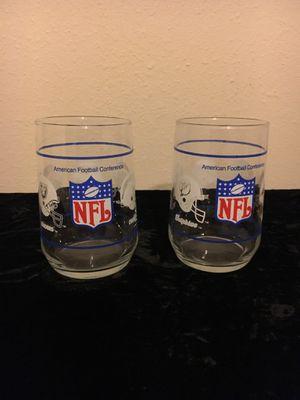 Vintage NFL American football conference glasses set of 2