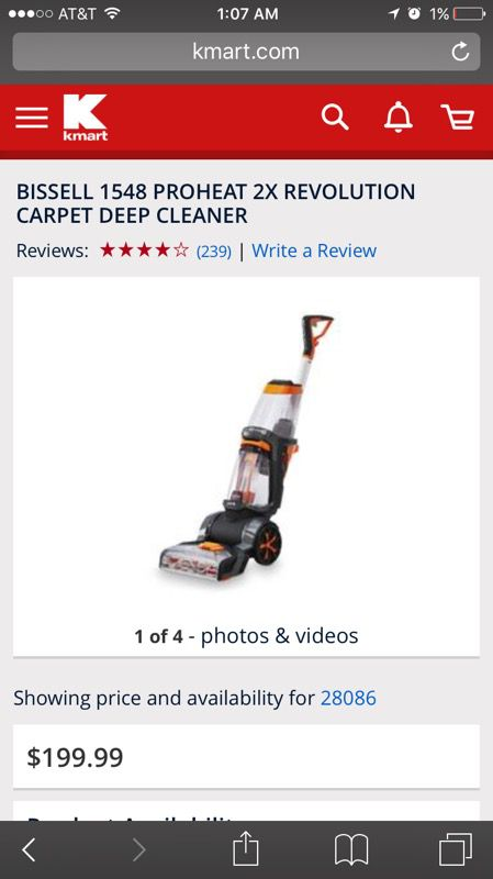Bissell 1548 Proheat 2x Revolution Carpet Deep Cleaner / Shampooer (Home & Garden) in Kings Mountain, NC