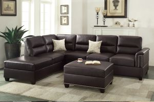Brand New Espresso Bonded Leather Sectional Sofa + Ottoman