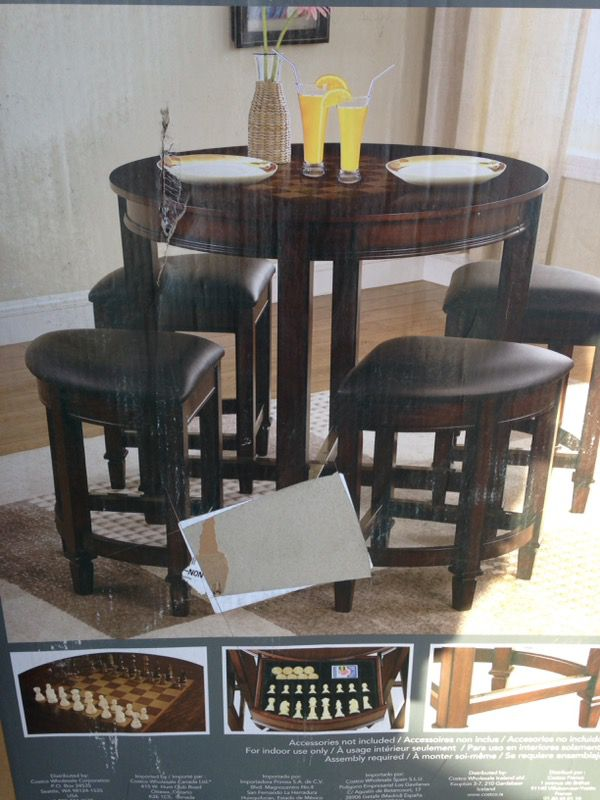 5 Piece Game Top Dining Set Table Brand New In The Box Never Been Used Costco Item Model Number SWC021602 Measurement Are Picture Show