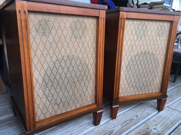 Set Of 2 Vintage Vtg Frazier Speakers Stand Legs Legged Console
