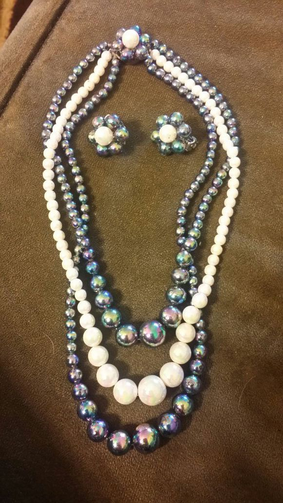 necklace set faux tone pearl p img two elongated