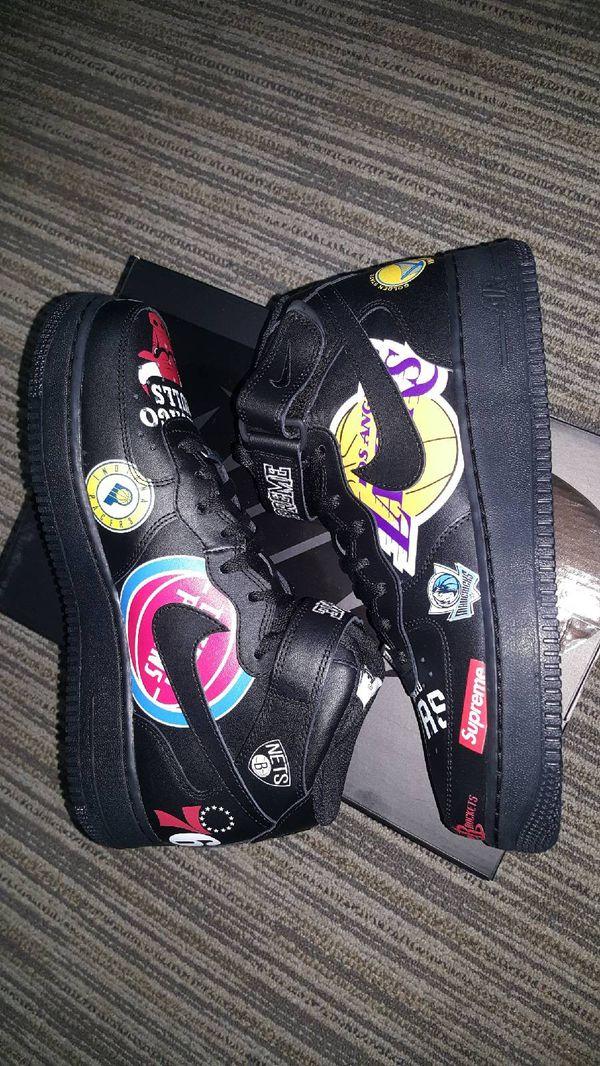 Supreme Nike Air Force 1 Mid NBA Black Size 9
