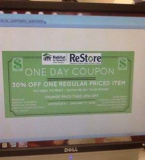 30% off One Day Coupon at Habitat for Humanity ReStore