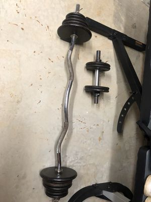 EZ bar and Dumbbell with weights