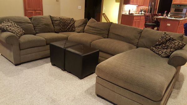 3 piece sectional from bassett 2 leather cubes for Furniture auburn wa