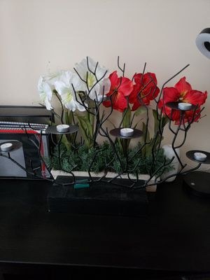 Decorations. Flowers and candle holder