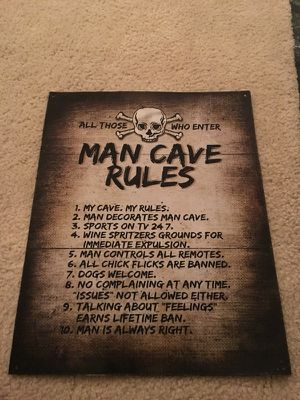 Man cave rules metal poster